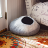 Image of Kittycentric Cozy Cat Cave - Dark Gray and Cream