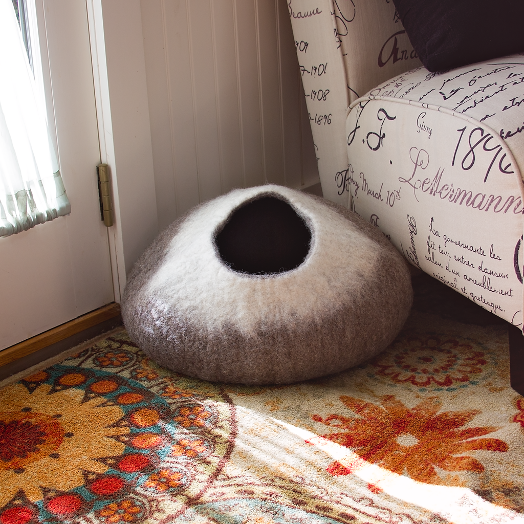 Cozy Felted Wool Cat Cave- Brown and Cream