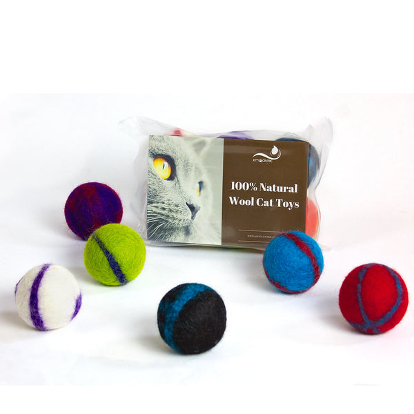 Kittycentric Wool Ball Toys with Rattle Feature- 6 Pack, Assorted Colors
