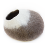Image of Cozy Felted Wool Cat Cave- Brown and Cream