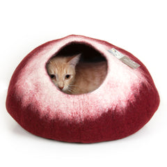 Image of Cozy Felted Wool Cat Cave- Cranberry and Cream
