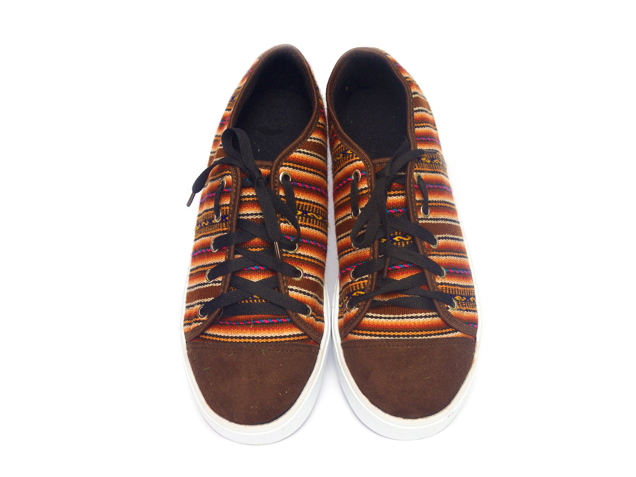 WOVEN LOW TOP CHAKI SNEAKERS - COFFEE