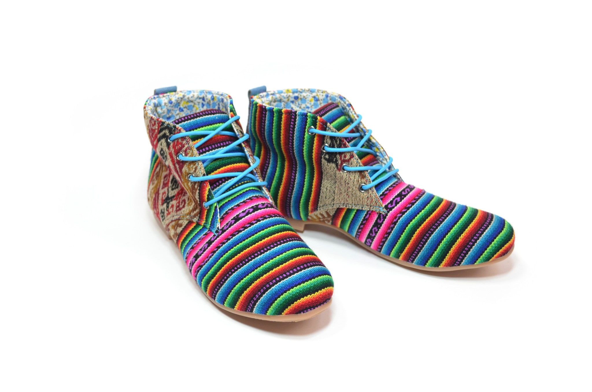 WOVEN ANKLE BOOT - RAINBOW RHOMBUS