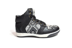 CHIBU HIGH TOP CHAKI SNEAKERS - BLACK & WHITE