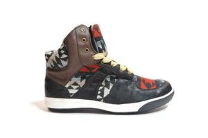 CHIBU HIGH TOP CHAKI - RED, BLACK & BEIGE