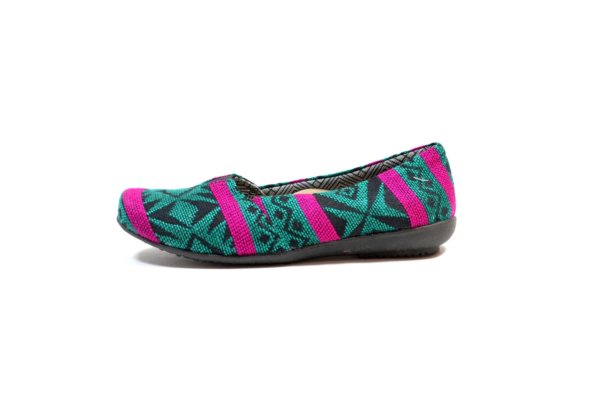 SISAY SLIP ON SHOES - FUCHSIA & GREEN