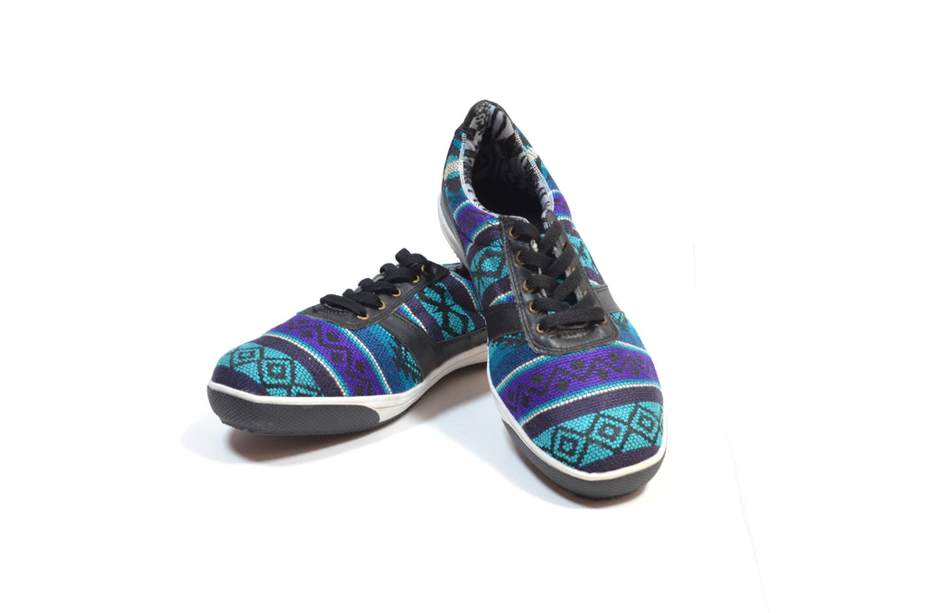 SISAY LOW TOP CHAKI SNEAKERS - BLACK & TURQUOISE