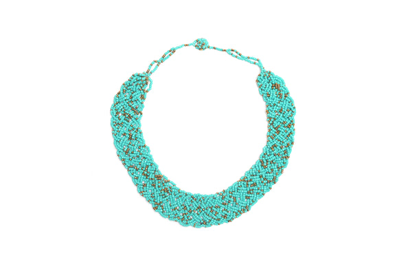 BRAIDED NECKLACE - TURQUOISE & GOLDEN DOTS