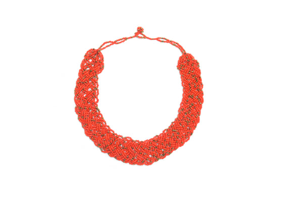 BRAIDED NECKLACE - RED & GOLDEN DOTS