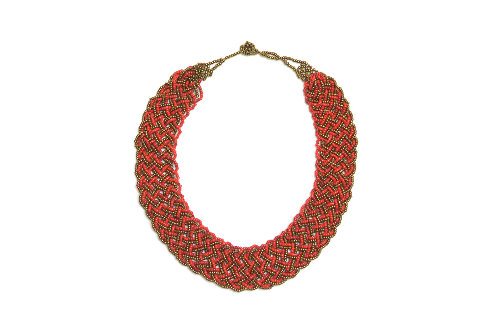 BRAIDED NECKLACE - RED & GOLDEN LINES
