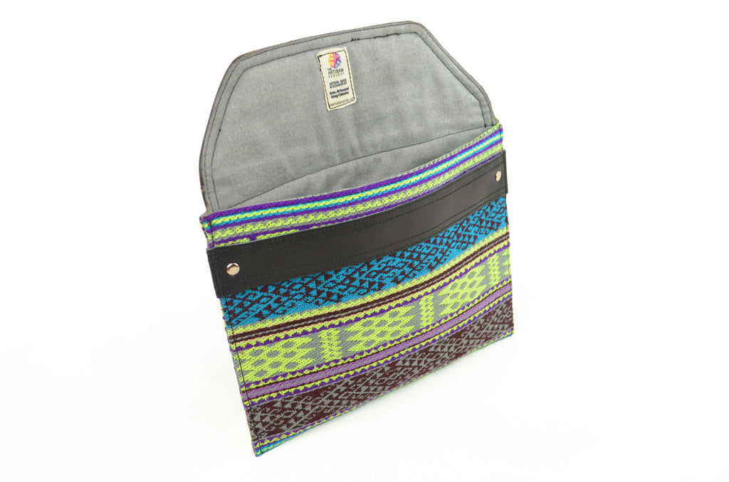SISAY IPAD SLEEVE - GREEN, PURPLE & BLACK