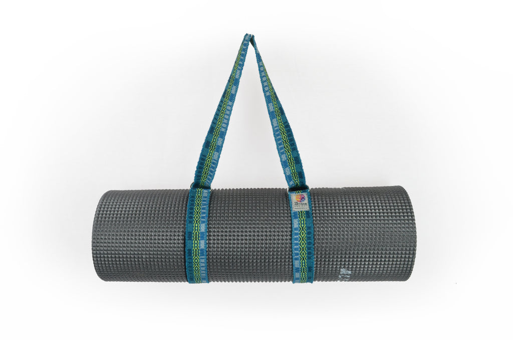 HANDLOOM WOVEN COMMUTER YOGA MAT STRAP  - BRIGHT BLUE