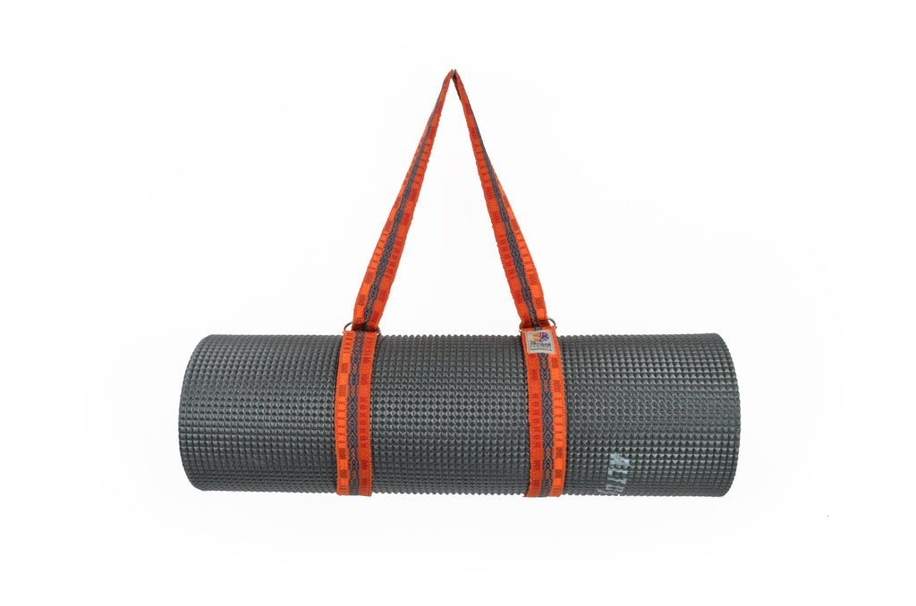 HANDLOOM WOVEN COMMUTER YOGA MAT STRAP  - BRIGHT ORANGE