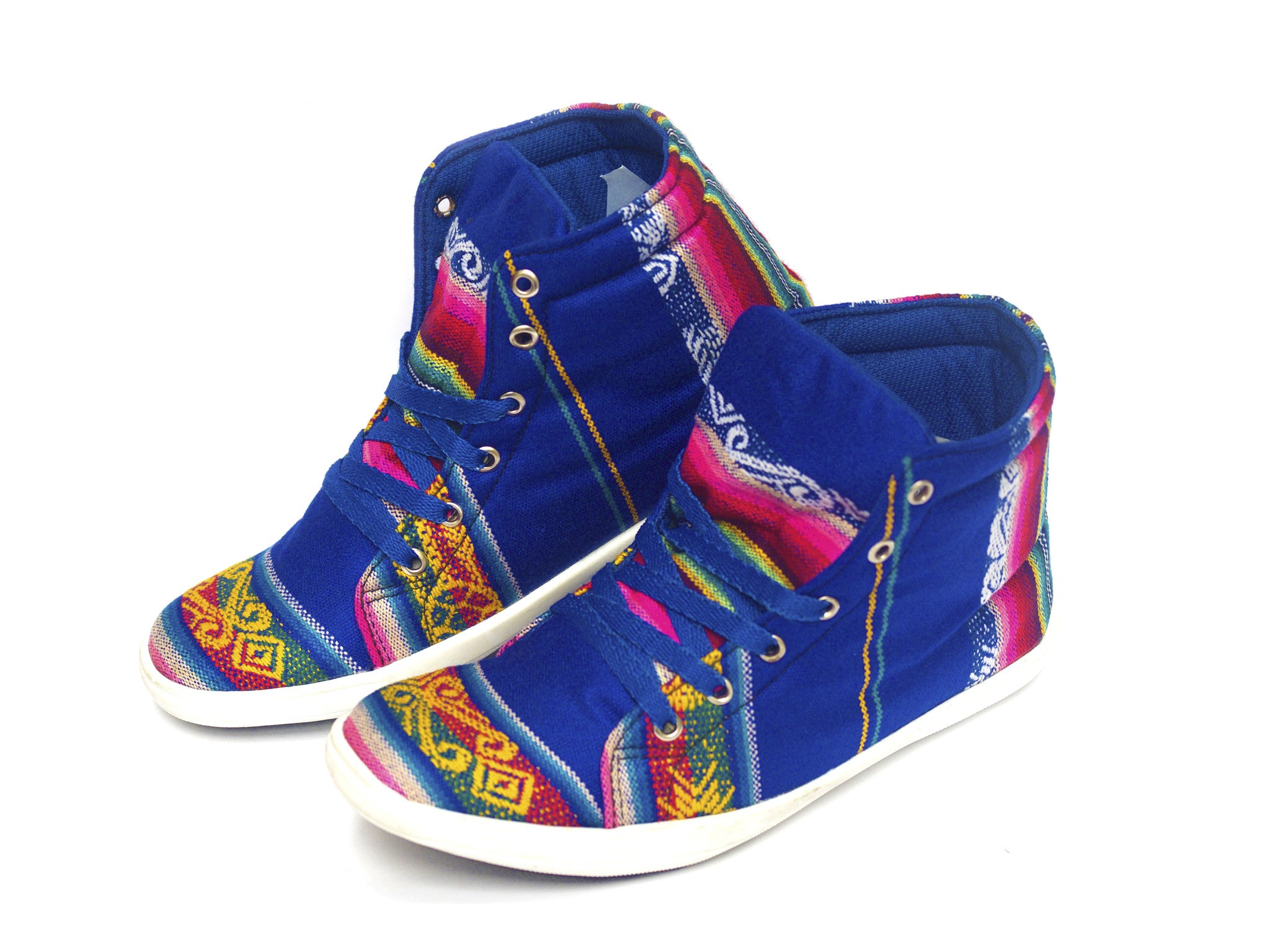 WOVEN HIGH TOP CHAKI SNEAKERS - BLUE