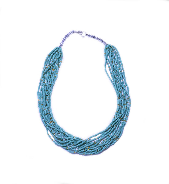 LA OTAVALEÑA NECKLACE - LIGHT TURQUOISE & GOLD