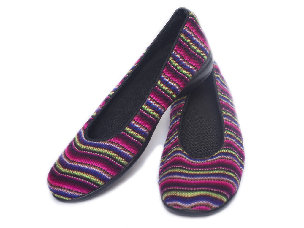 WOVEN BALLERINA FLATS - PINK, BLUE & GREEN STRIPES