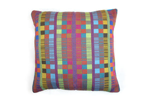 SAN JOSE HANDLOOM WOVEN CUSHION COVER  - MULTICOLOR SQUARES (FRONT)