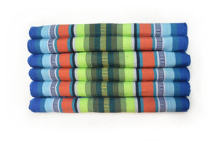 SAN JOSE HANDLOOM WOVEN PLACEMAT SET (6 PIECES) - BLUE, GREEN & ORANGE STRIPES
