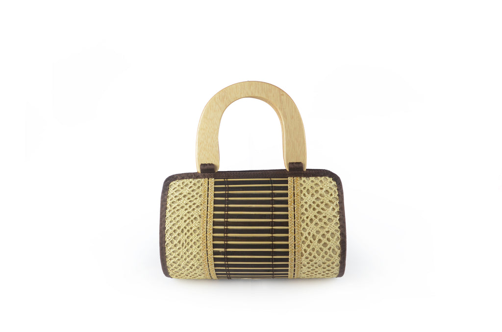 Toquilla Straw Tube Handbag with Wooden Handles
