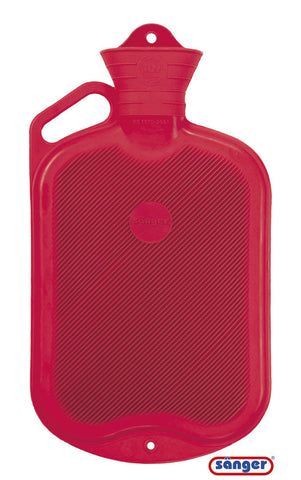 Sänger Rubber Hot Water Bottle - 2 Litres (Red w/ Handle, Single-side Ribbed)