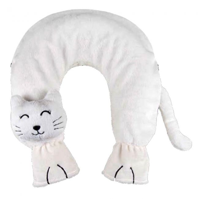 Neck hot water bottle with cat cover, white