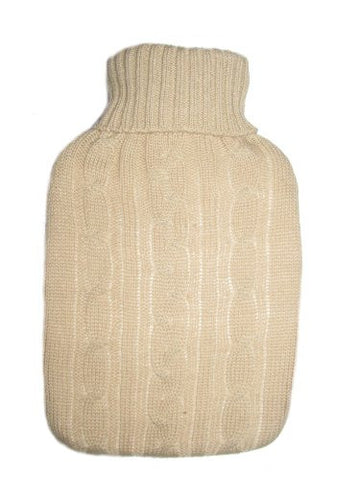 Warm Tradition Ivory White Cable Knit Hot Water Bottle Cover- COVER ONLY