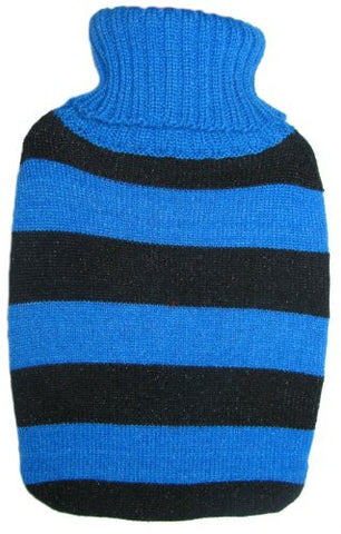 Warm Tradition Black & Blue Stripes Knit Covered Hot Water Bottle - Bottle made in Germany