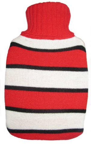 Warm Tradition Red & White Stripes Knit Covered Hot Water Bottle - Bottle made in Germany