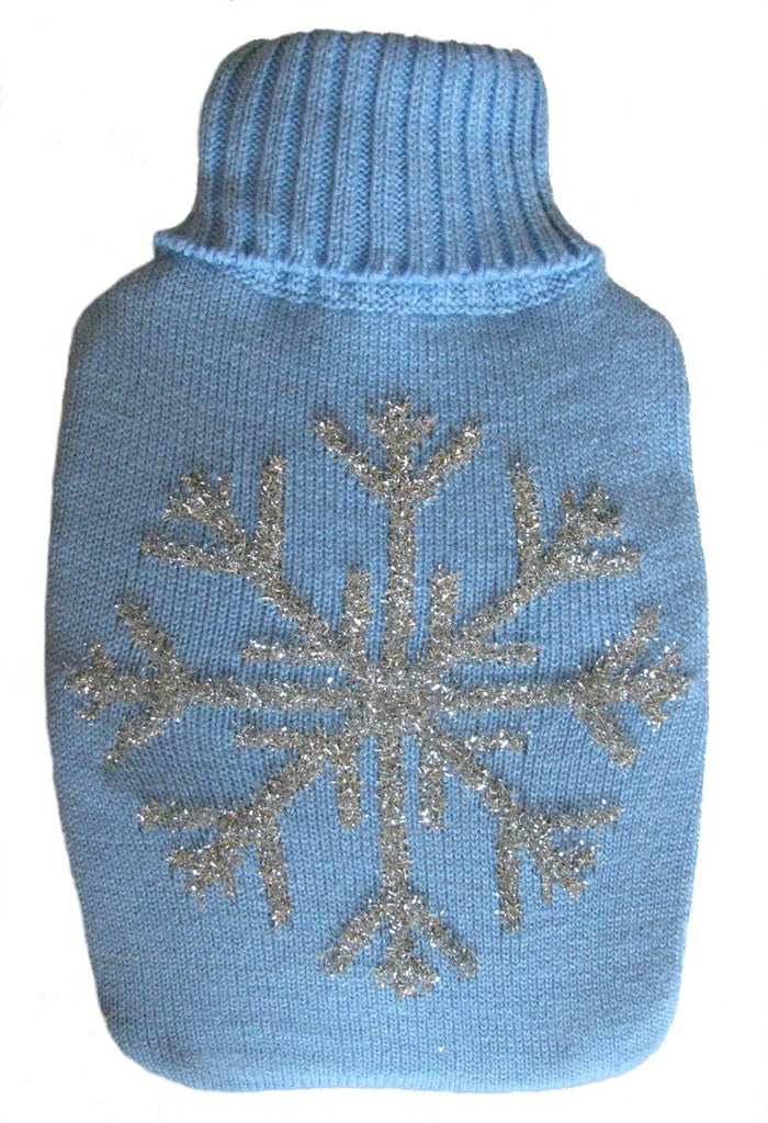 Warm Tradition Silver Snowflake Knit Hot Water Bottle Cover- COVER ONLY