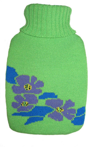 Warm Tradition Violet Flowers Knit Covered Hot Water Bottle - Bottle made in Germany