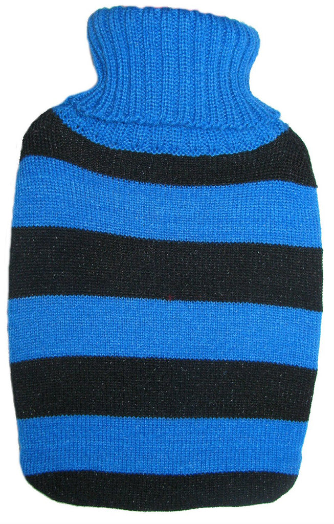 Warm Tradition Black & Blue Stripes Knit Hot Water Bottle Cover- COVER ONLY