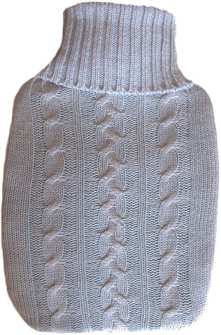 Warm Tradition Heather Gray Cable Knit Covered Hot Water Bottle - Bottle made in Germany