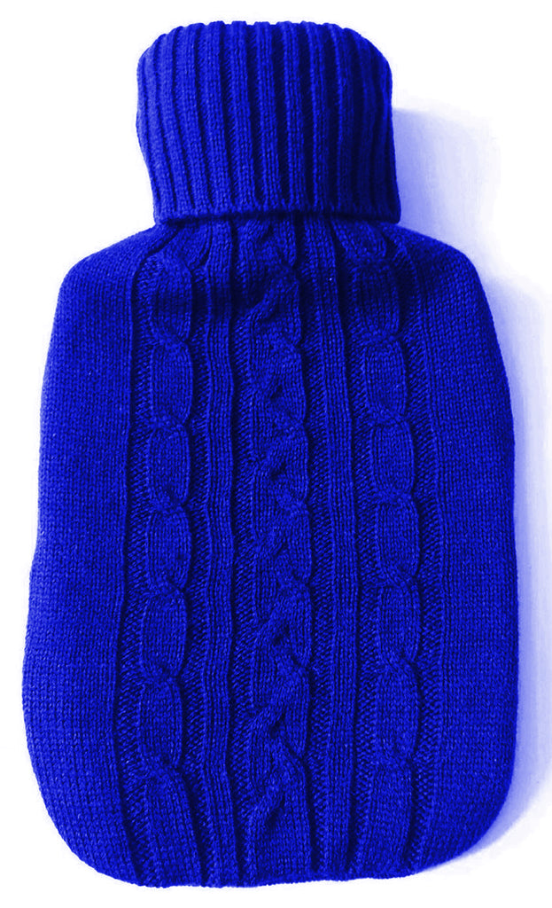 Warm Tradition Blue Cable Knit Hot Water Bottle Cover- COVER ONLY