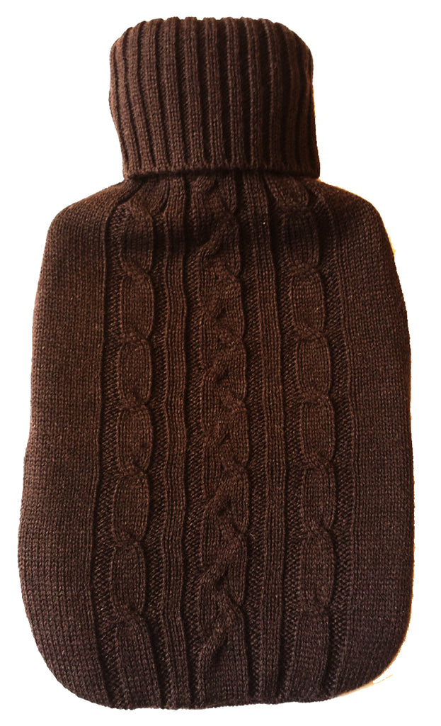 Warm Tradition Chocolate Cable Knit Covered Hot Water Bottle - Bottle made in Germany