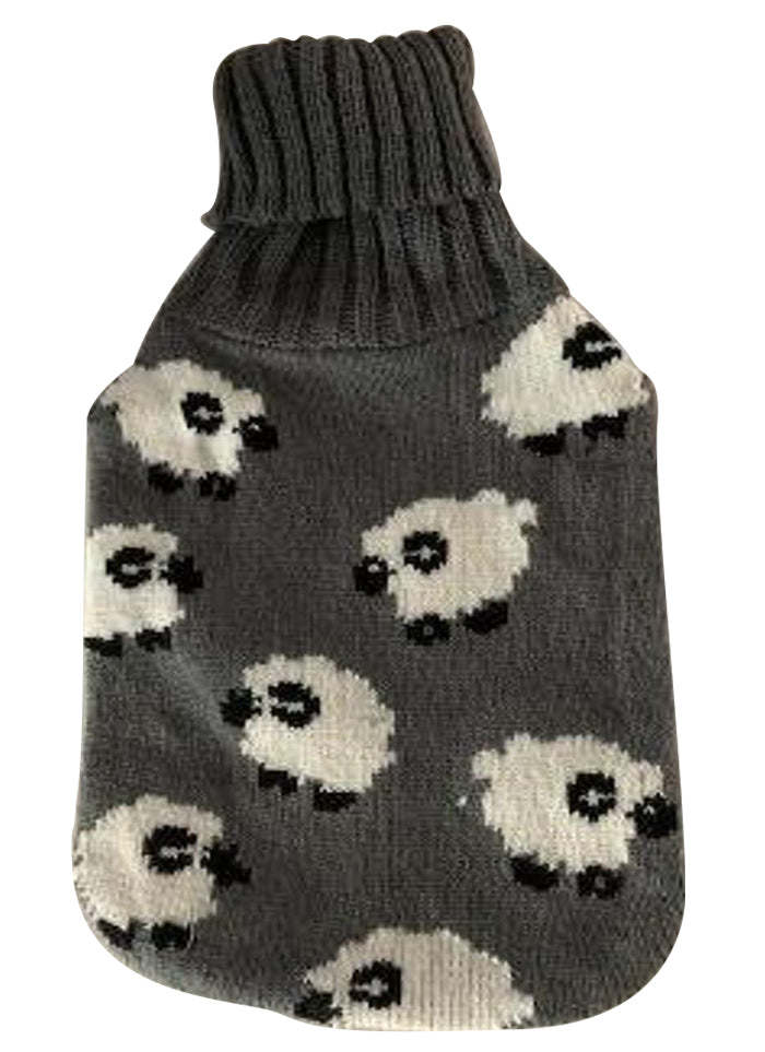Warm Tradition Counting Sheep Knit Covered Hot Water Bottle - Bottle made in Germany