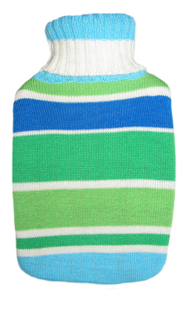 Warm Tradition Green & Blue Stripes Knit Hot Water Bottle Cover- COVER ONLY