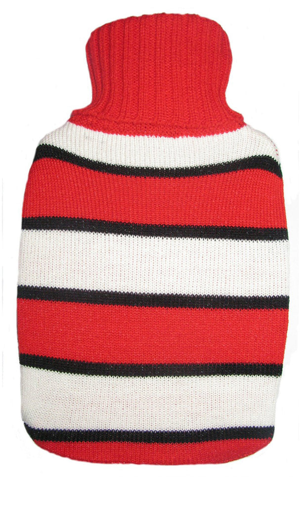 Warm Tradition Red & White Stripes Knit Hot Water Bottle Cover- COVER ONLY