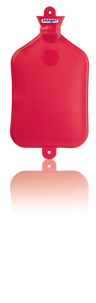SANGER X-Large 2.5 Liter Rubber Hot Water Bottle in Red- Made in Germany