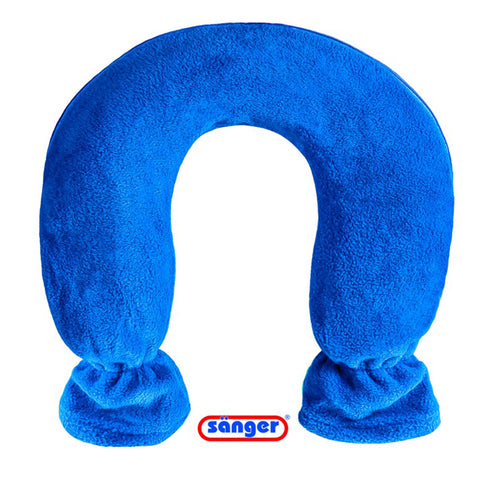 SANGER Blue Fleece NECK Hot Water Bottle - Made in Germany