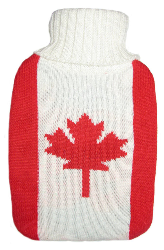 Warm Tradition Canadian Flag Knit Covered Hot Water Bottle - Bottle made in Germany