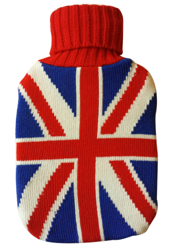 Warm Tradition British Flag Knit Covered Hot Water Bottle - Bottle Made in Germany