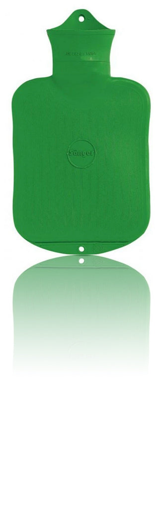 SANGER 0.8 Liter Rubber Hot Water Bottle - Made in Germany (Green)