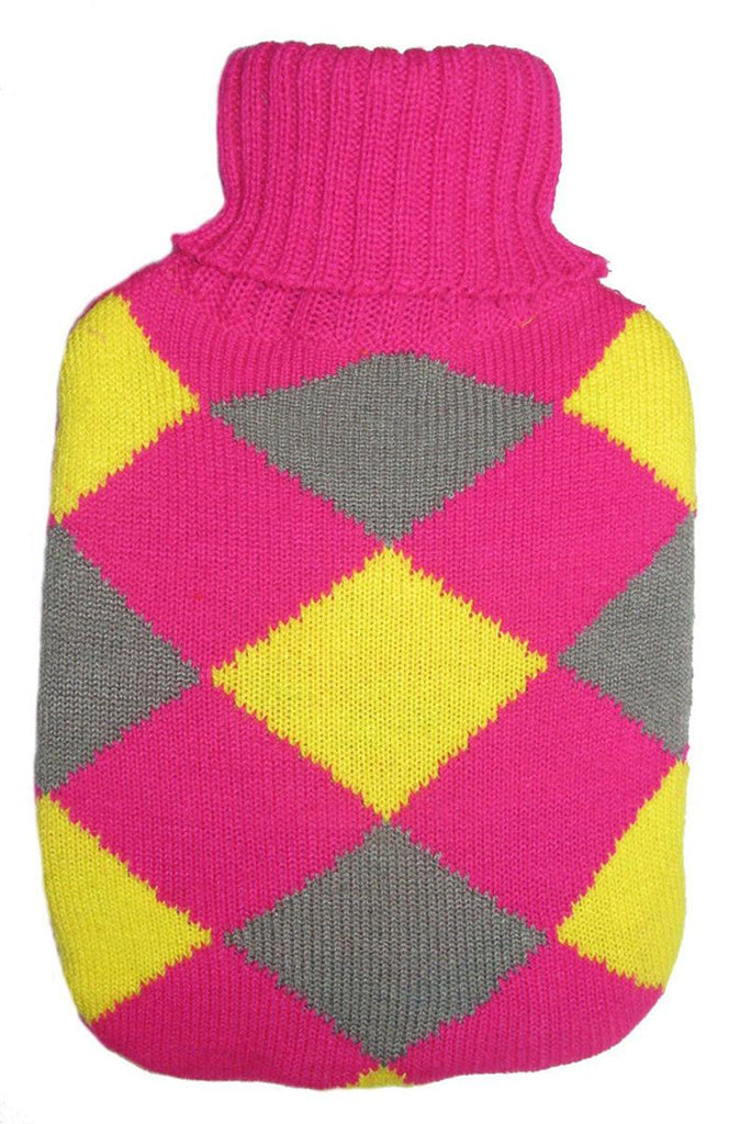 Warm Tradition Pink Diamonds Knit Hot Water Bottle Cover- COVER ONLY