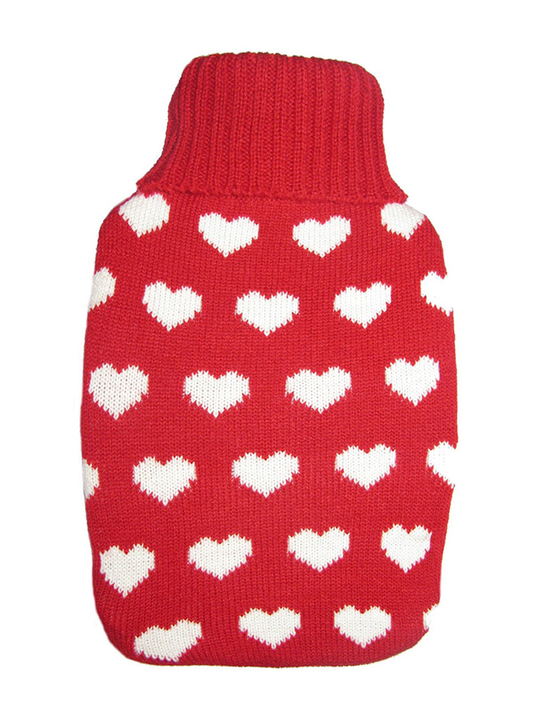 Warm Tradition Lots of Love Knit Covered Hot Water Bottle - Bottle made in Germany
