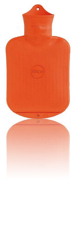 SANGER 0.8 Liter Rubber Hot Water Bottle - Made in Germany (Orange)