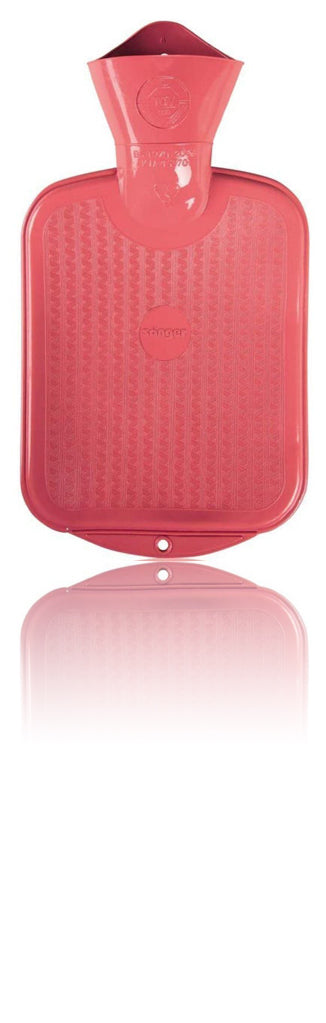 Sanger 0.8 Liter Rubber Hot Water Bottle - Made in Germany (Pink)