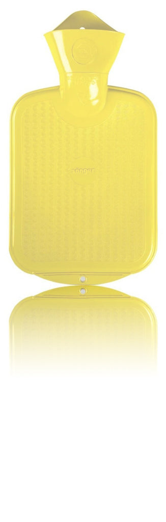 SANGER 0.8 Liter Rubber Hot Water Bottle - Made in Germany (Yellow)
