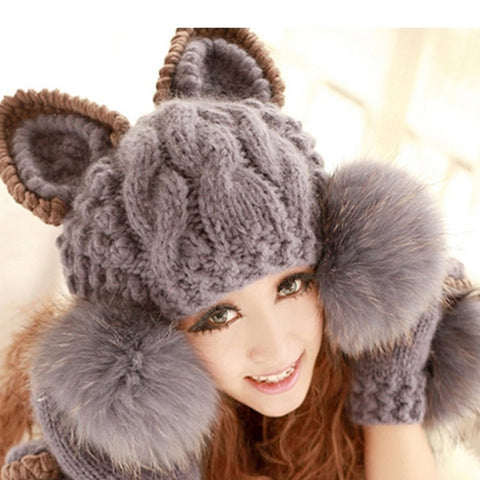 "Kawaii ! Le bonnet et les moufles assortis ""Sweet Winter Cat"""