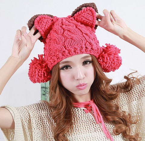 "Kawaii ! Le bonnet en  tricot ""Winter cat"""