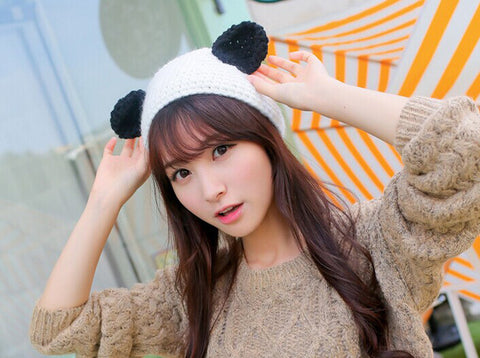 "Kawaii ! Le bandeau en tricot  ""Panda Winter Look"""